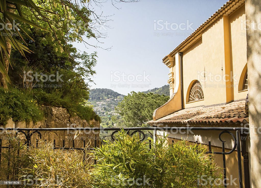 Patio and Buildings in Eze royalty-free stock photo
