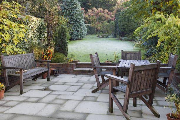 Patio and garden in autumn stock photo