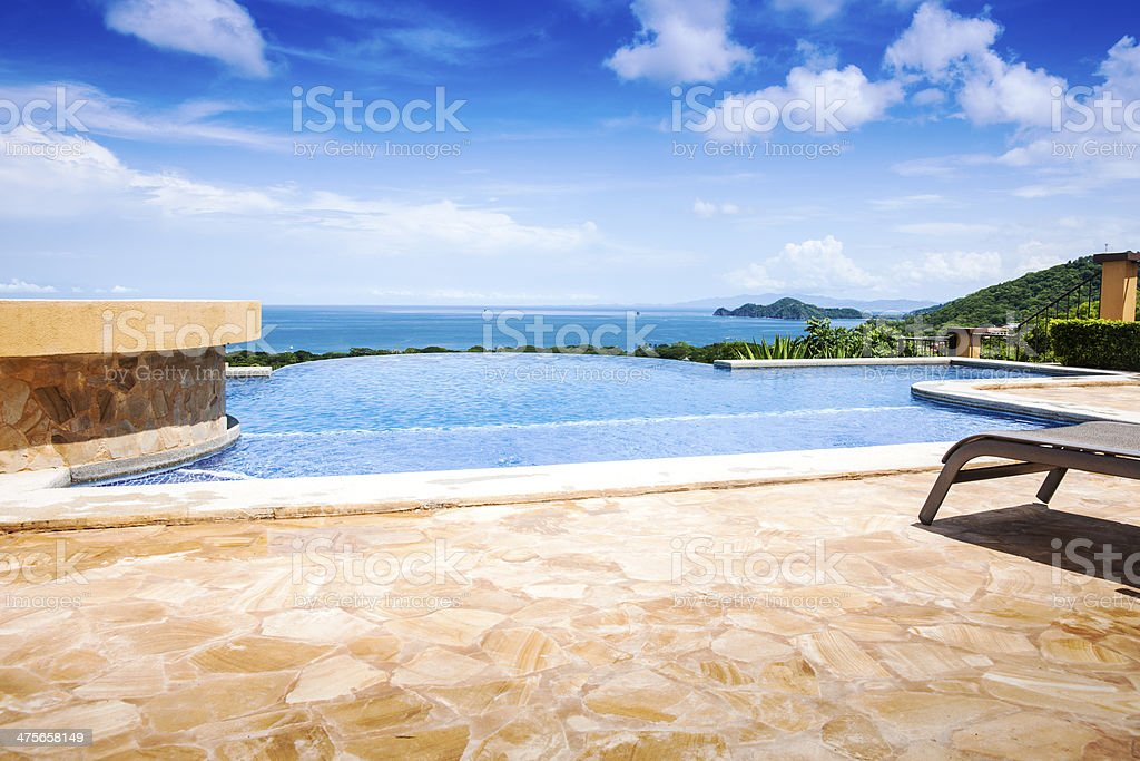 Patio and pool overlooking the Pacific royalty-free stock photo
