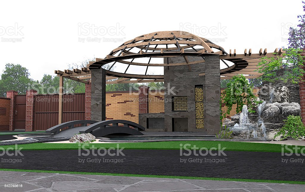 Patio architectural highlight, 3d render stock photo