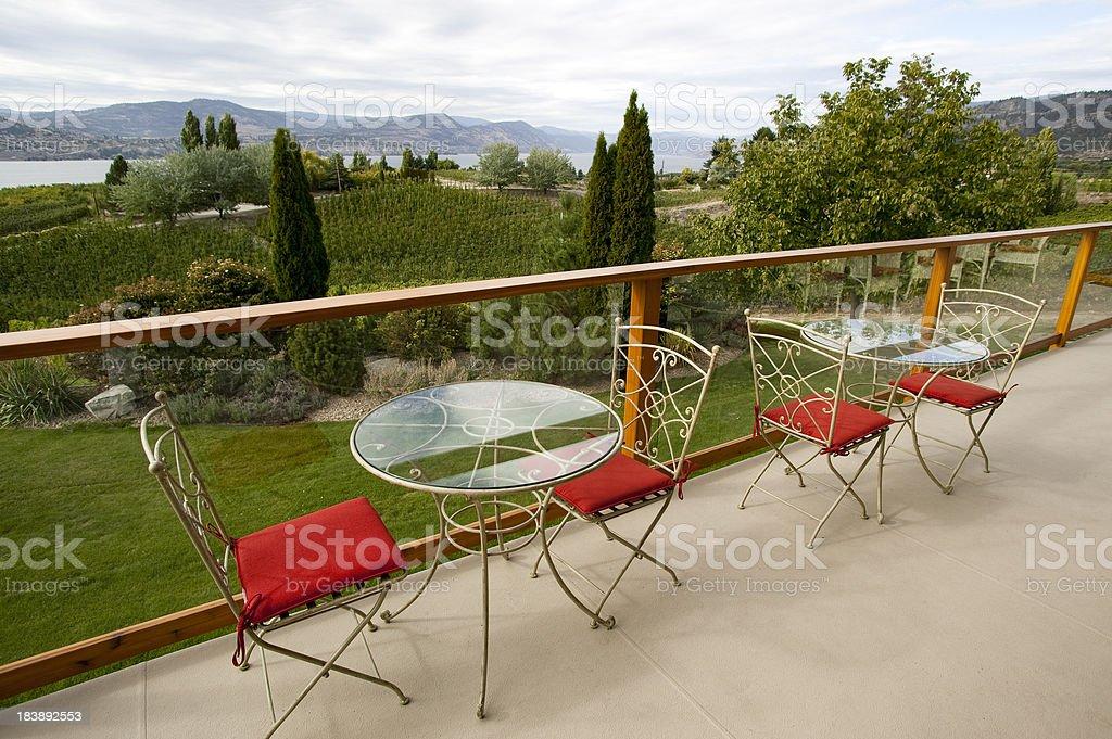 patio balcony veranda naramata okangan valley vineyard royalty-free stock photo