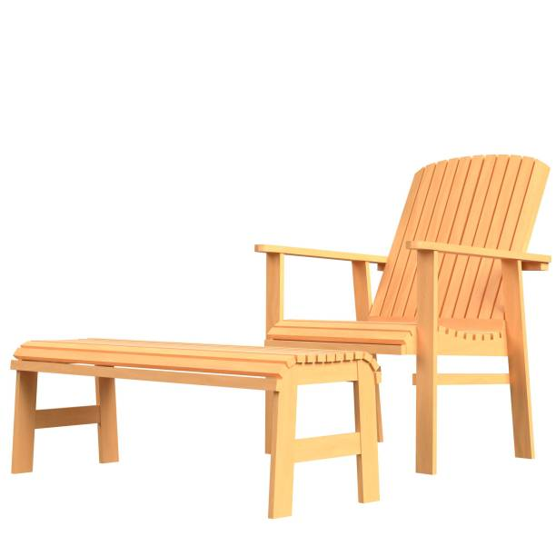 Patio chair and footrest - foto stock