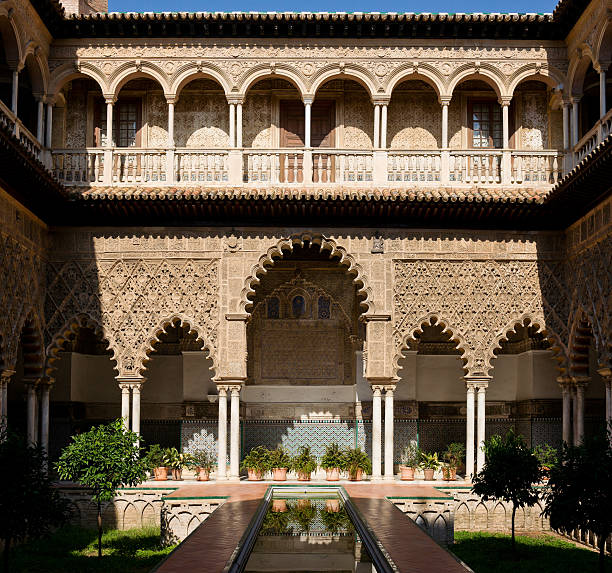 Patio de las Doncellas, Alcázar of Seville, Spain The lower level of the Patio was built for King Peter I in 1364 as a royal residence. The name