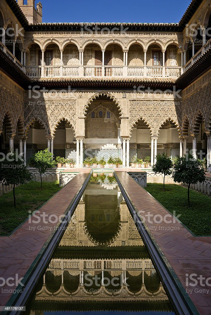 Patio de las Doncellas, Alcázar of Seville, Spain royalty-free stock photo