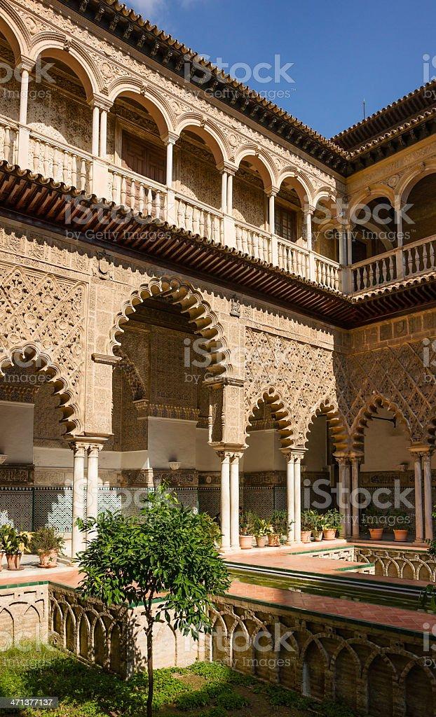 Patio de las Doncellas, Alcázar of Seville, Spain stock photo