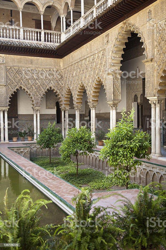 Patio de las Doncellas in Real Alcazar, Seville stock photo