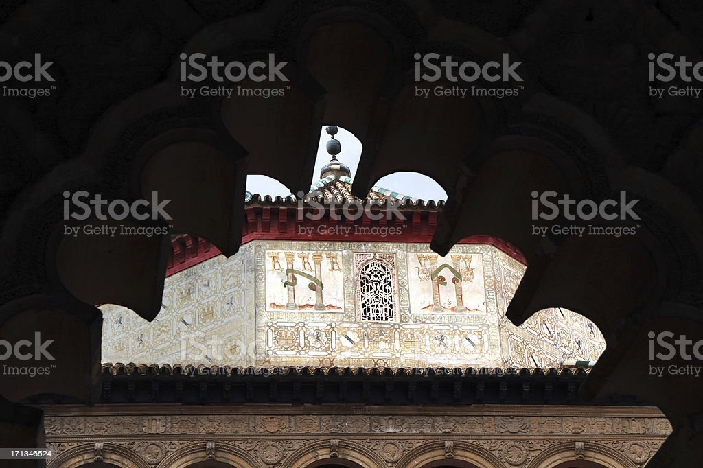 Patio de las Doncellas, Real Alcázar, Seville, Spain stock photo