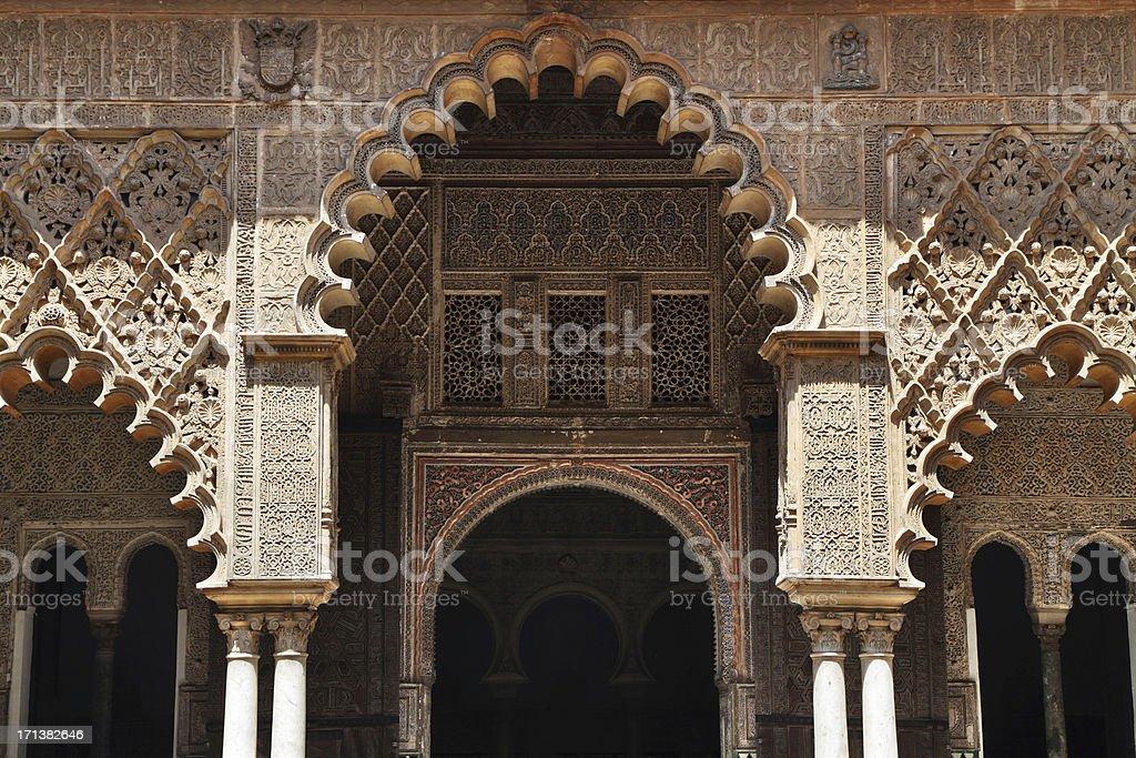 Patio de las Doncellas, Real Alcázar, Seville, Spain stock photo
