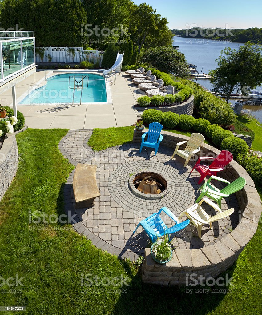 Patio Deck With Swimming Pool, Fire Pit stock photo