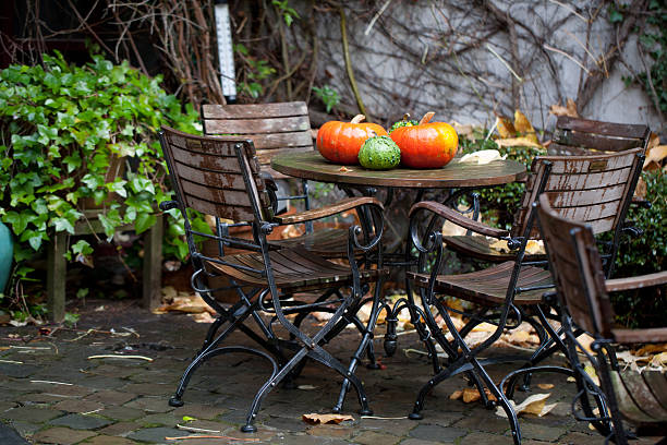 Patio decorations in autumn stock photo