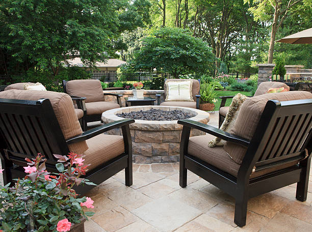 Patio Fire Pit stock photo