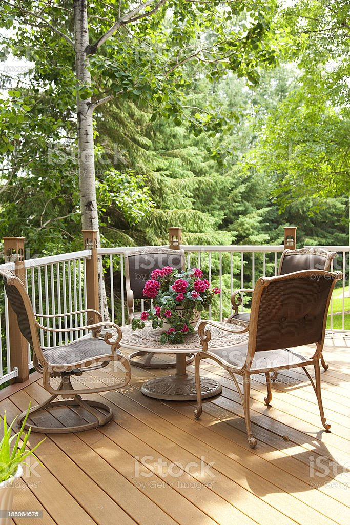Patio Furniture on a Deck royalty-free stock photo