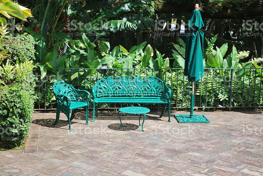 Patio furniture set at Queen Emma Sammer Palace, Honolulu.