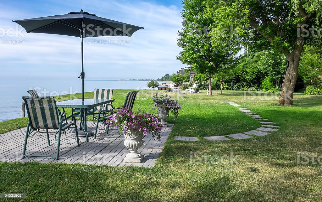 Patio Furniture With a View of Lake Erie stock photo