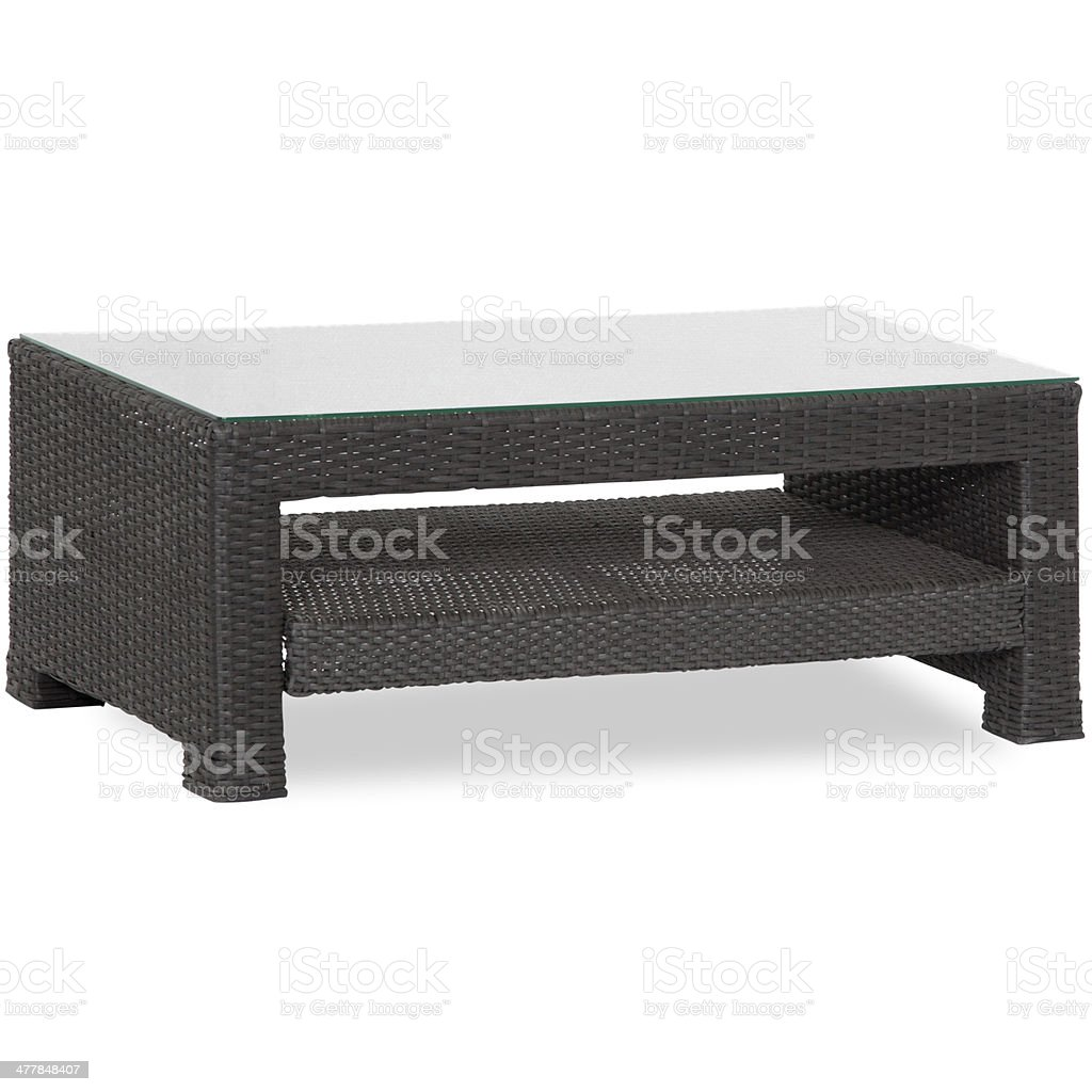 Patio Glass Top Wicker Coffee Table Royalty Free Stock Photo