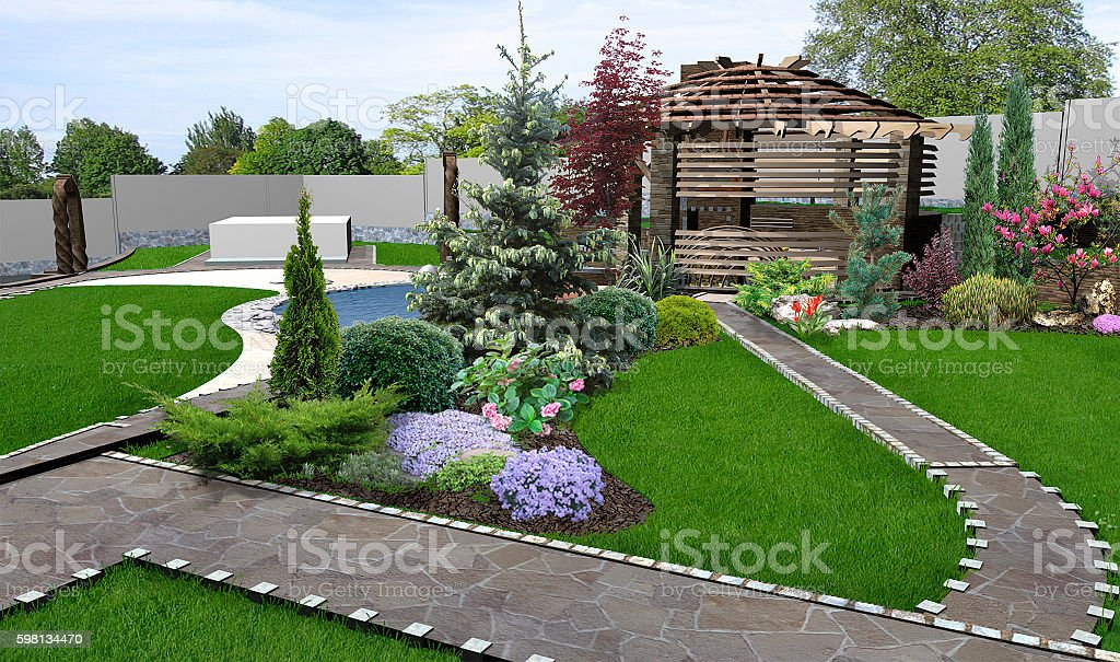 Patio Horticultural Background, 3d Rendering U2013 Foto