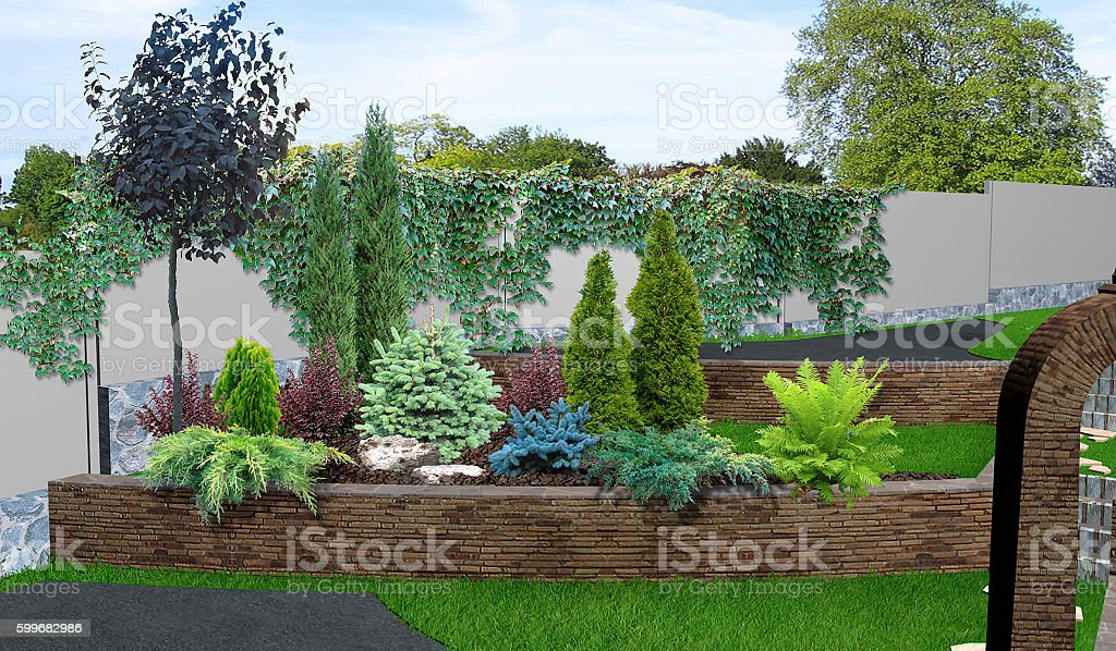Patio horticultural background, 3d rendering – Foto