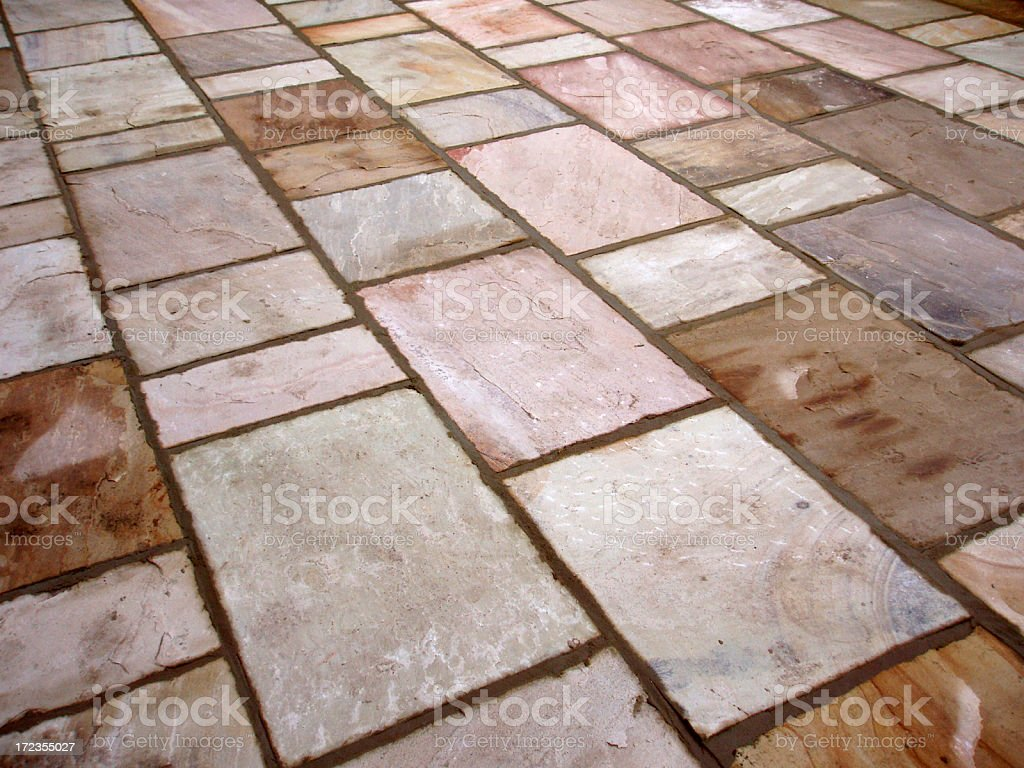 patio in garden completed job with sandstone royalty-free stock photo