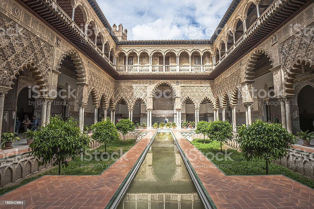Patio in Royal Alcazars of Seville, Spain stock photo