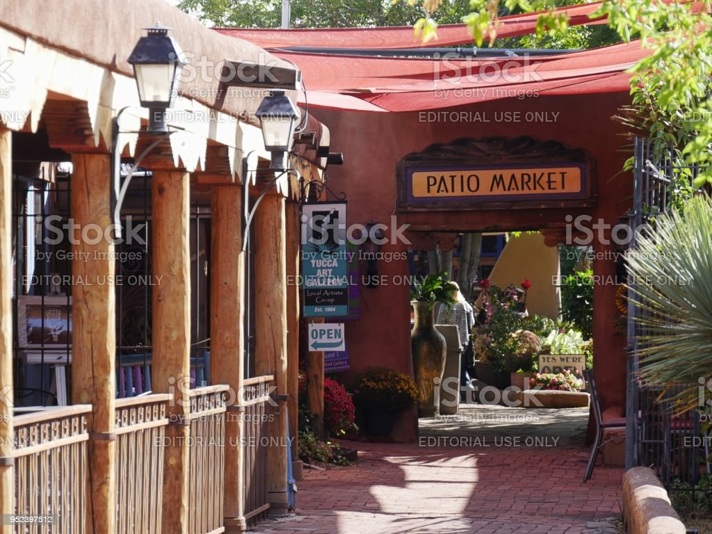 Patio Market at the Old Town in Albuquerque stock photo