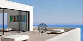 3D illustration. Patio or terrace modern luxury villas with sea views.