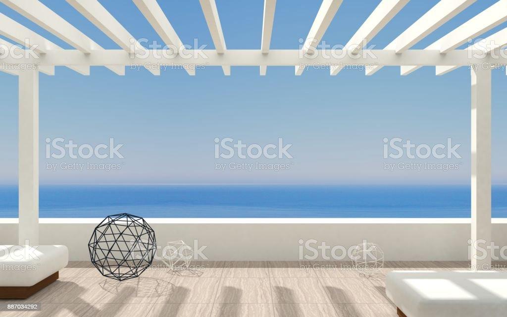 Patio modern marine Villa stock photo