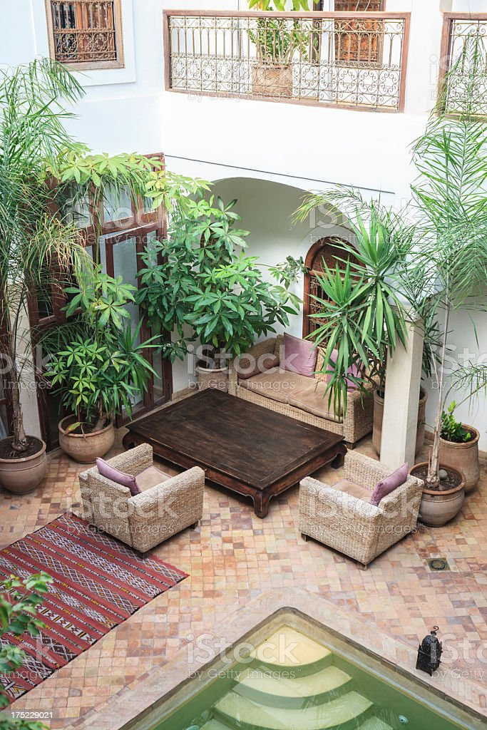Patio Of A Moroccan Riad In Marrakech Stock Photo More Pictures Of
