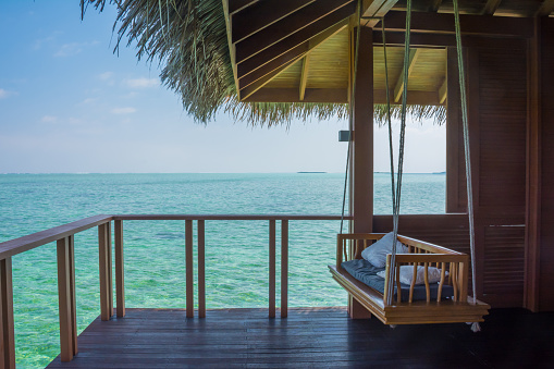 Patio of a water bunglow at a Maldives island resort