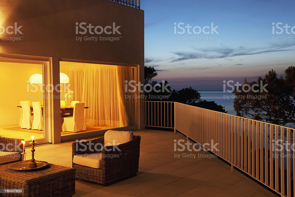 Patio of modern house at twilight royalty-free stock photo