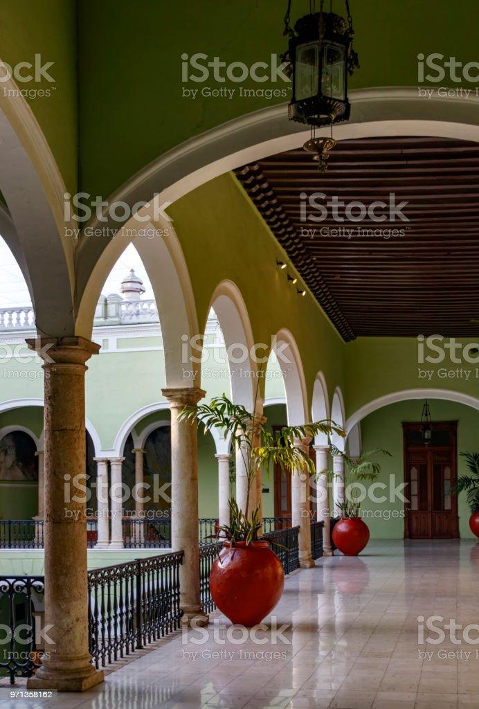 Patio of Palace Municipal in Merida stock photo
