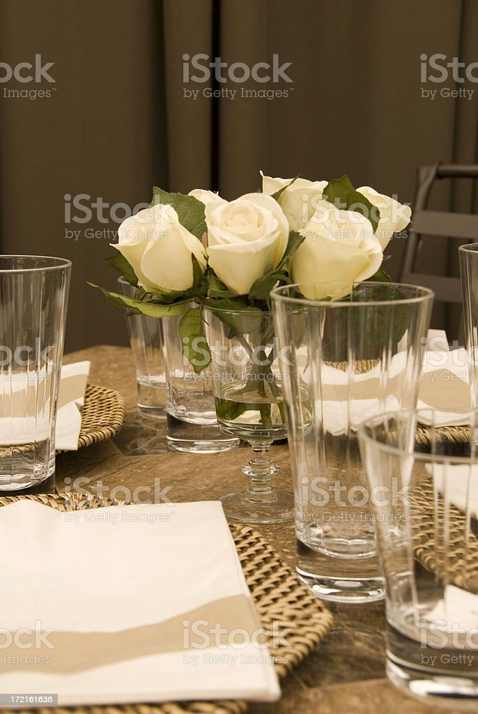 Patio Outdoor Dining Table and Place Setting royalty-free stock photo
