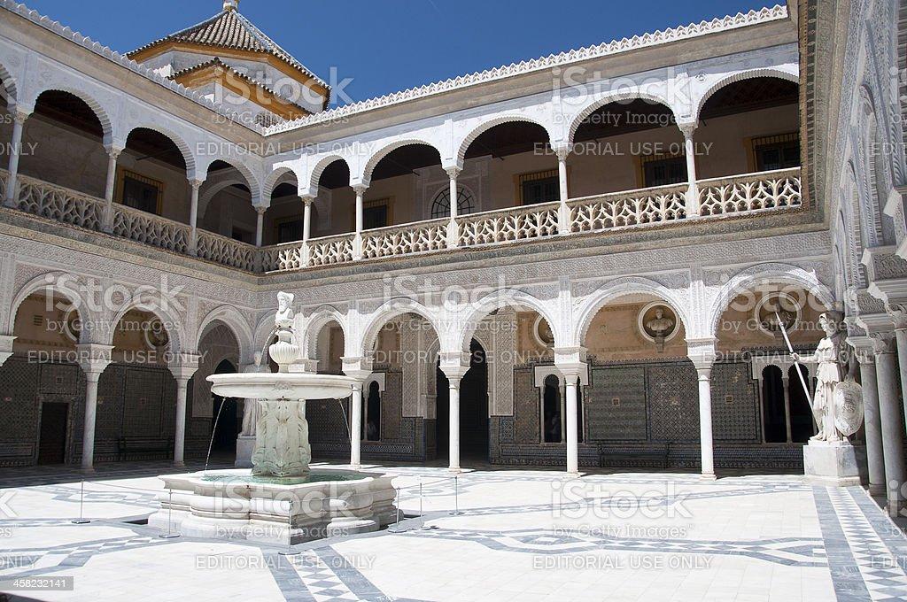 Patio Principal of La Casa De Pilatos, Seville In Spain royalty-free stock photo