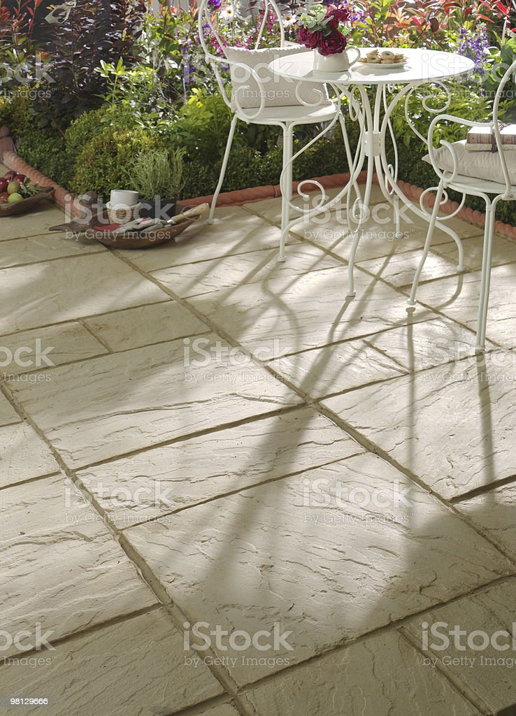 Patio Slabs in evening sunshine royalty-free stock photo
