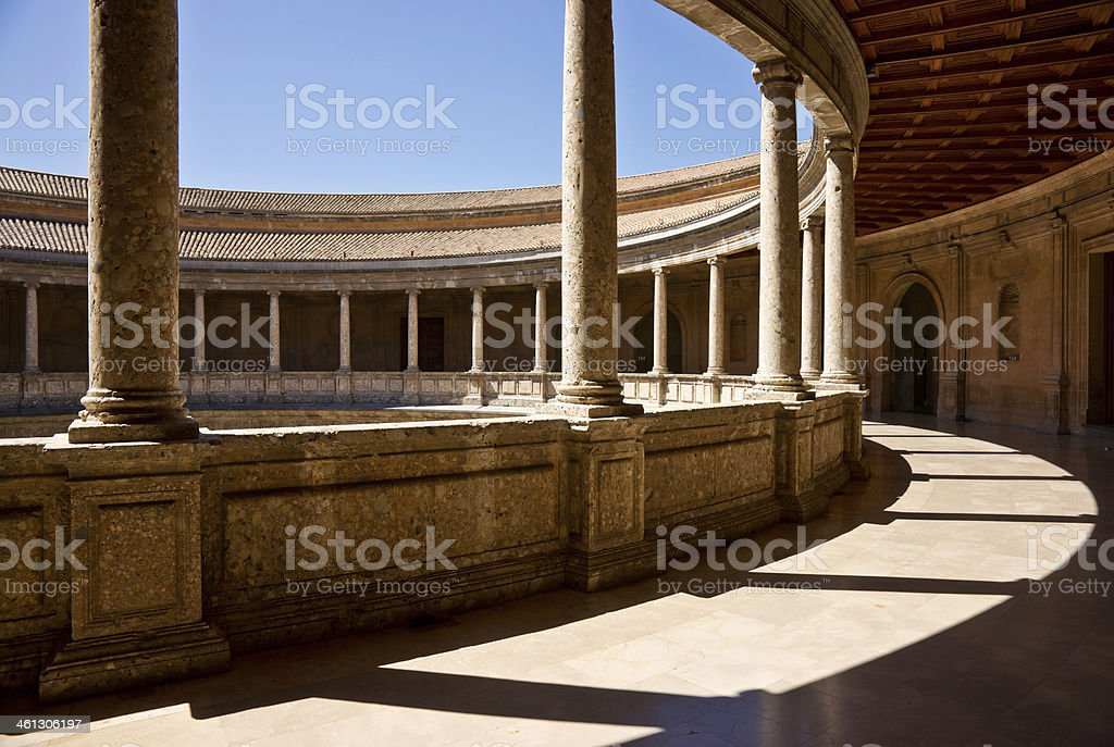 Patio Upper Level Palace Of Charles V in Alhambra, Granada royalty-free stock photo