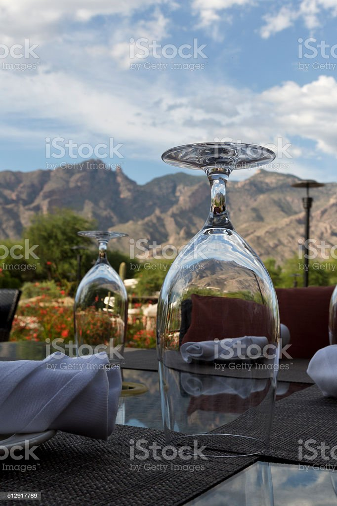 Patio view with mountains and sky stock photo