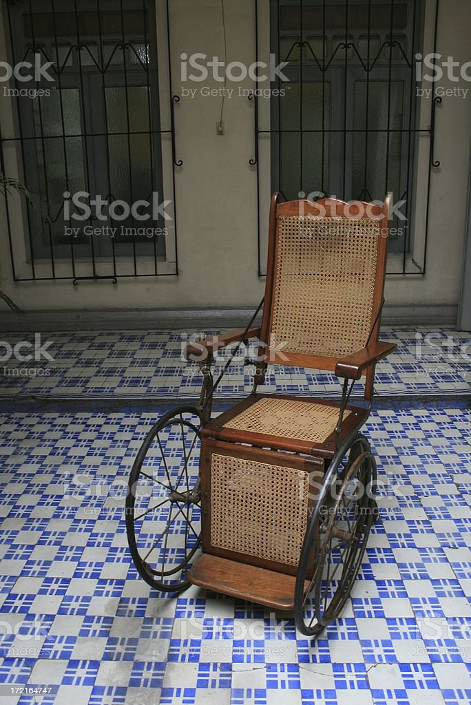 patio with a wheelchair stock photo