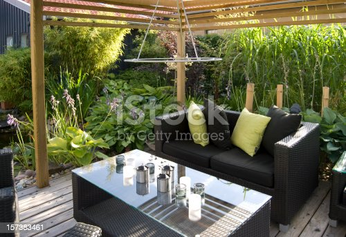 Modern outdoor living, with wicker sofas and table.