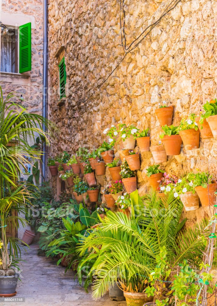 Patio with beautiful potted flowers on the wall in Valldemossa village on Majorca, Spain stock photo