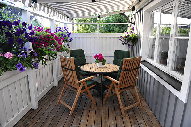 Patio with furniture and flowers stock photo