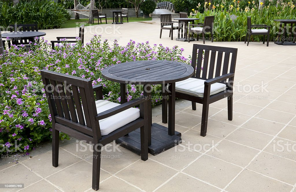 patio with table and chairs royalty-free stock photo