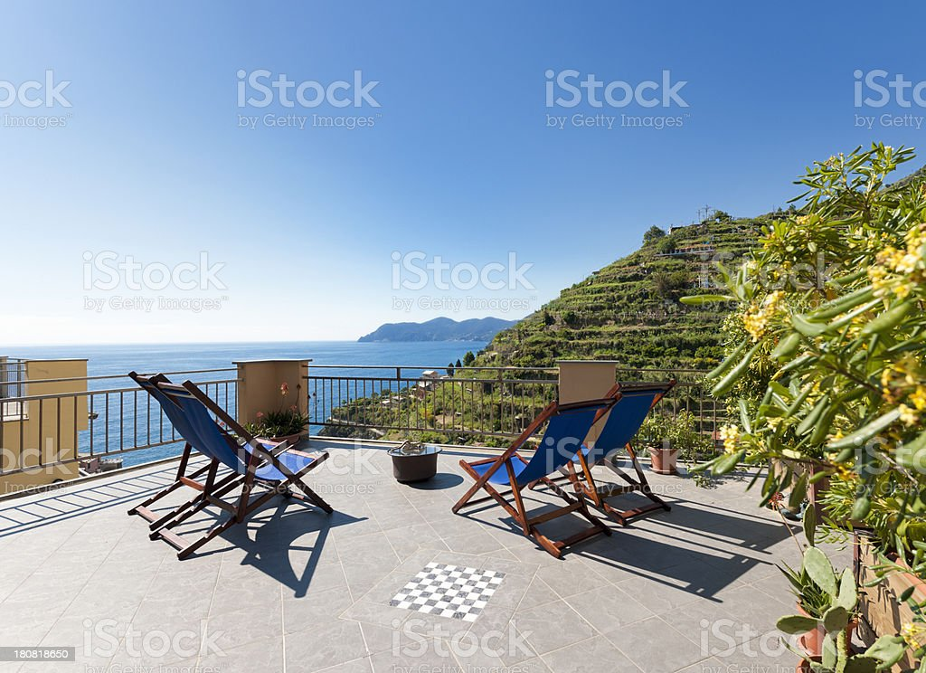 patio with view on sea and vineyard royalty-free stock photo