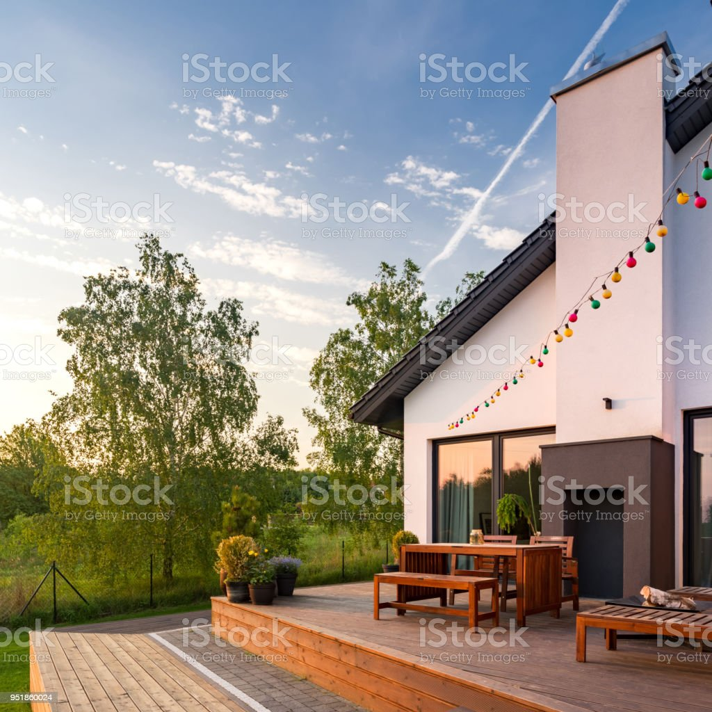 Patio with wooden flooring stock photo
