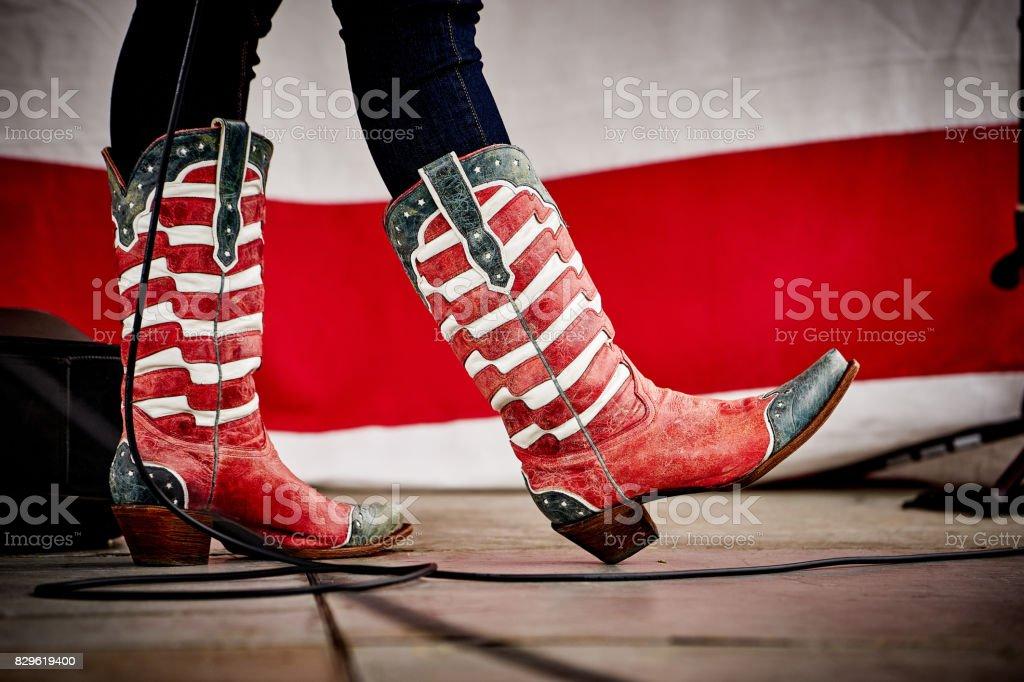 Patiotic cowboy boots stock photo