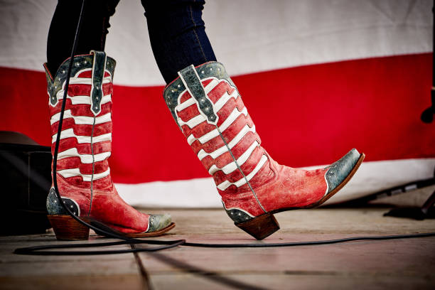 Patiotic cowboy boots stock photo