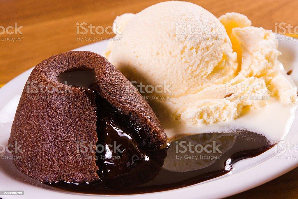 Patit Gateau with Ice Cream stock photo