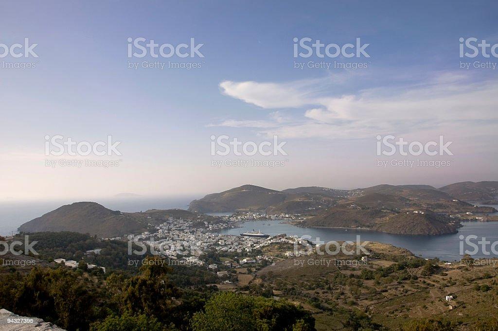 Patmos harbour view stock photo