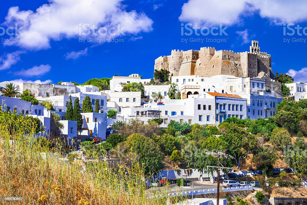 Patmos island, Dodecanese, Greece. Unesco heritage site stock photo