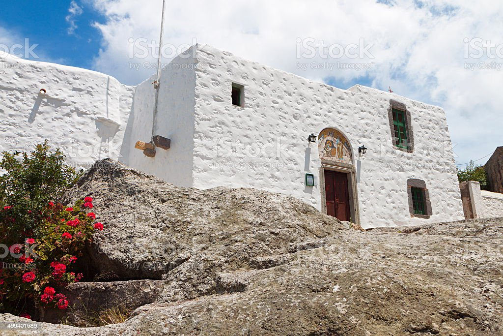 Patmos island in Greece. The 'Apocalypse Cave' monastery stock photo