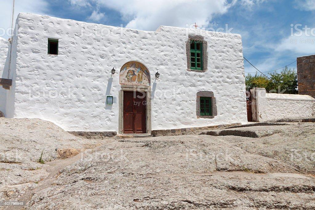 Patmos island in Greece. The 'Apocalypse Cave' monastery stock photo