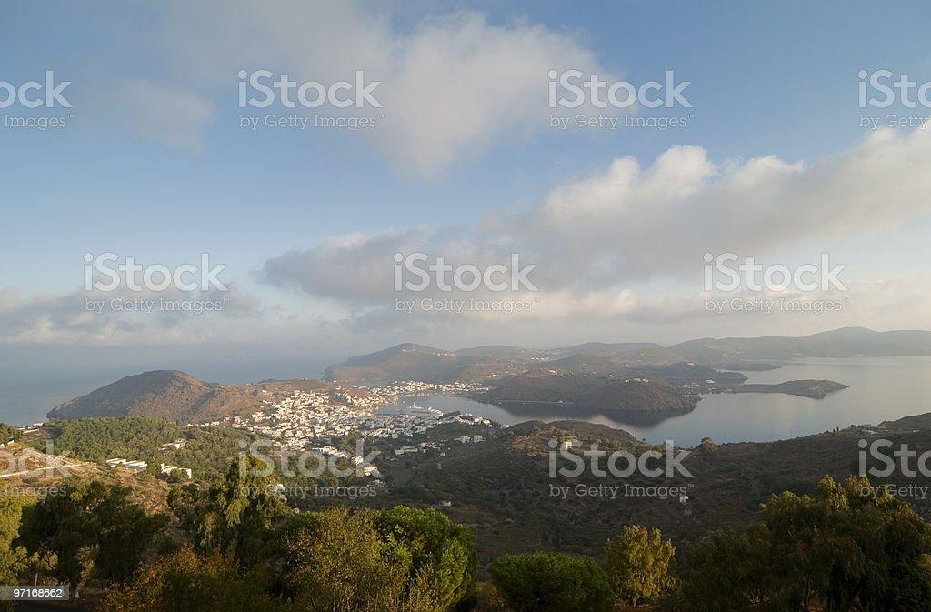 Patmos Island with Skala stock photo